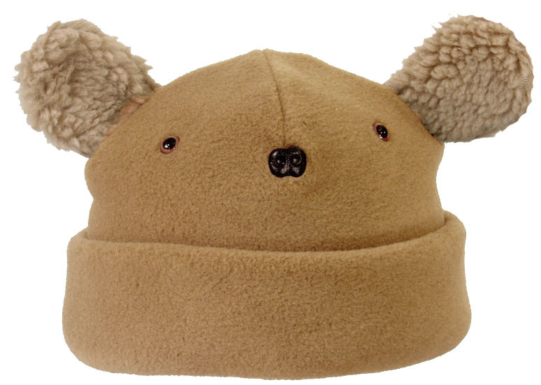 baby bear face hat 100wt tan with berber ears and brown nose