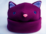 warm winter kitty cat hat purple with pink nose and blue eyes